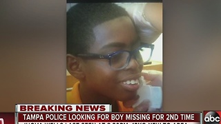 Tampa police looking for boy missing for second time