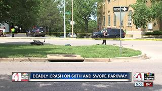 Motorcyclist dead after crash on Swope Parkway - Video