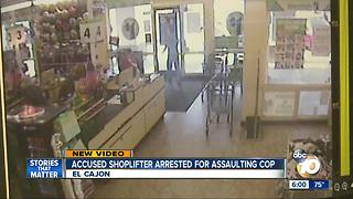 Accused shoplifter arrested for cop assault - Video