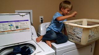 Little Boy Is The Cutest Laundry Helper - Video
