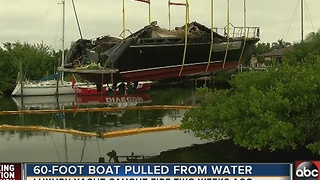 60-foot boat pulled from water after catching fire - Video