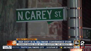 Man shot inside convenience store in Baltimore dies