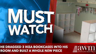 He Dragged 3 Ikea Bookcases Into His Room And Built A Whole New Piece of Furniture - Video