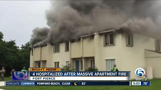 Fort Pierce apartment fire sends 4 to hospital - Video
