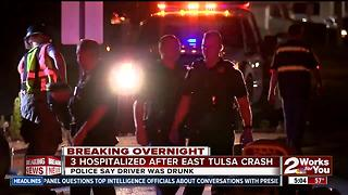 Three people hospitalized after drunk driver crash into them - Video
