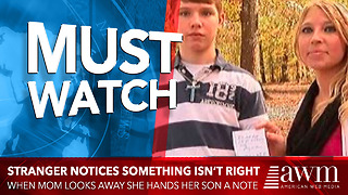 Stranger Notices Something Isn't Right. When Mom Looks Away He Hands Her Son A Note - Video