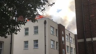 Block of Flats Catches Fire in Bethnal Green - Video