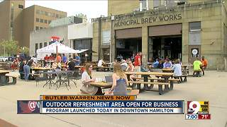 Outdoor refreshment area open for business - Video