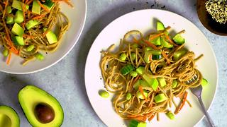 Peanut Noodles with Avocado, Cucumber, and Sesame Seeds - Video