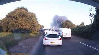 Smoke From Recycling Center Fire Spotted along A30 Road - Video