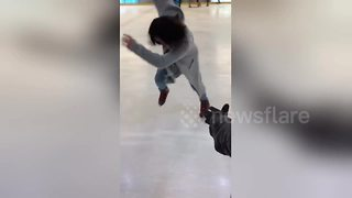 Woman goes ice skating and fails terribly