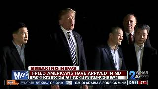 Freed American detainees arrive at Joint Base Andrews - Video