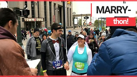 Couple exchange vows in the middle of a marathon one year after hit and run accident