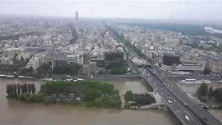 Urban Paris Islands Submerged as River Seine Bulges - Video