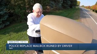Troy police replace residents' mailbox destroyed by reckless driver