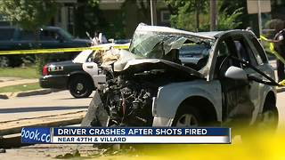 Driver crashes into tree after shots fired at vehicle on Milwaukee's north side - Video