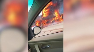 Caught on camera: Amazon truck catches fire on I-15