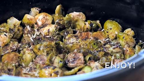 Slow cooker Brussels sprout with balsamic glaze