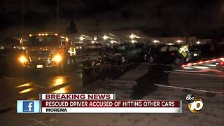 Rescued driver accused of hitting other cars - Video