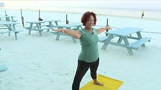 Beach Yoga on Fort Myers Beach at Shucker's