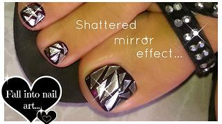 How to create a shattered glass toenail art effect - Video