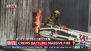 Crews battling massive fire in Miami-Globe area