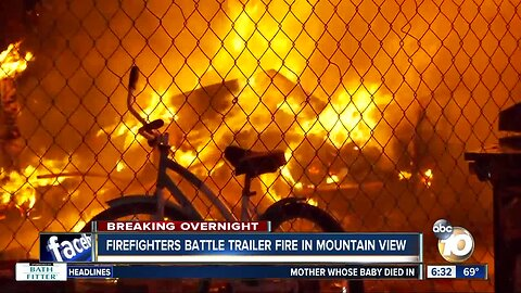 Fire destroys trailer in Mountain View