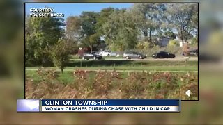 Video shows moment vehicle crashes, ending police chase in Clinton Township