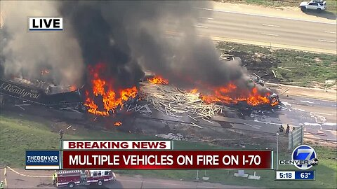 Multiple injuries reported following fiery crash involving at least 3 semis, 6 vehicles on EB I-70
