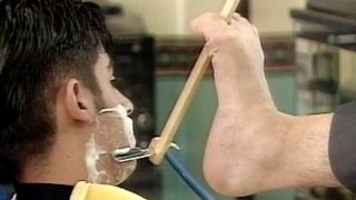 Barber Shaves With Feet - Video