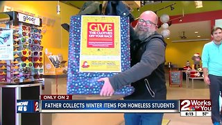 Father collects winter clothes for homeless students