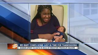 Maryland family gets to take baby home from NICU on Thanksgiving - Video