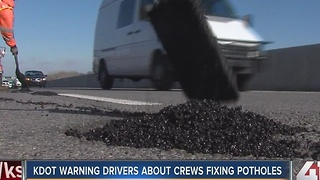 KDOT asking for driver patience when patching potholes - Video