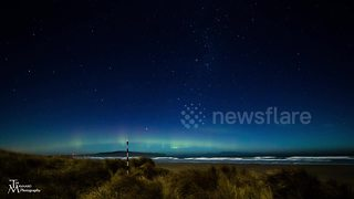 Aurora Australis filmed above skies of New Zealand - Video
