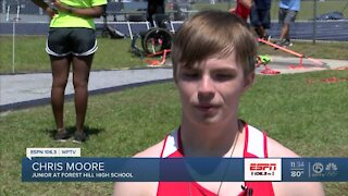 Chris Moore medals multiple times at FHSAA track meet