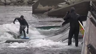 Surfers hit the White Water Park despite cold conditions