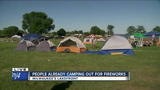 People already camping out for Milwaukee fireworks show - Video