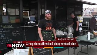 Strong storms threaten holiday weekend plans