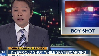 Child skateboarding in Oceanside hit by stray bullet - Video
