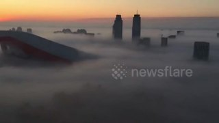 Heavy fog covers entire city in northern China - Video