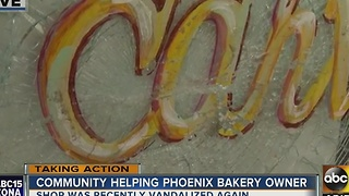 Neighbors come together to help vandalized bakery - Video
