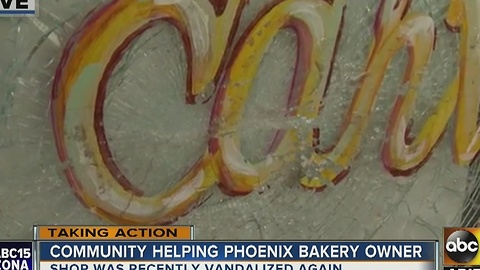 Neighbors come together to help vandalized bakery