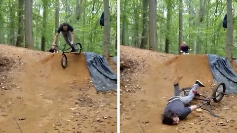 Biker faceplants ramp