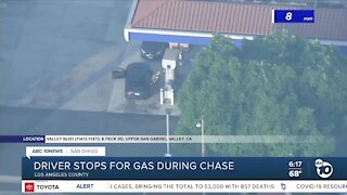 Driver stops for gas during high-speed pursuit