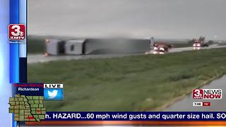 Several semi-trucks blown off Interstate 29 near Thurman, Iowa - Video