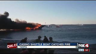 Casino Shuttle Boat Catches Fire - Video