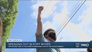 Black Lives Matter protestors make their way through downtown Fort Myers