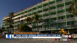 Thief jumps off balcony after stealing items on wild spring break night - Video