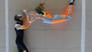 Parachutists learn indoor skydiving at home