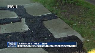 Detroit residents frustrated with temporary sidewalk fix - Video